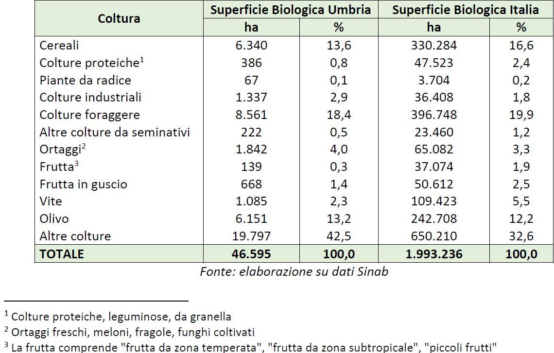 Tabella 3: Ripartizione superficie biologica per tipo di coltura